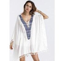 beach cover up beach resort wind blouse tassel womens beachwear