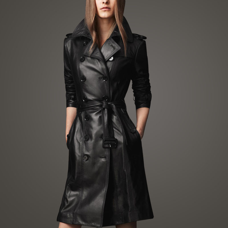 Spring/Autumn Black Double-breasted Pu Leather Trench Coat Waistband Women Full Sleeve Trench Europe Style Pu OverCoat TT2912