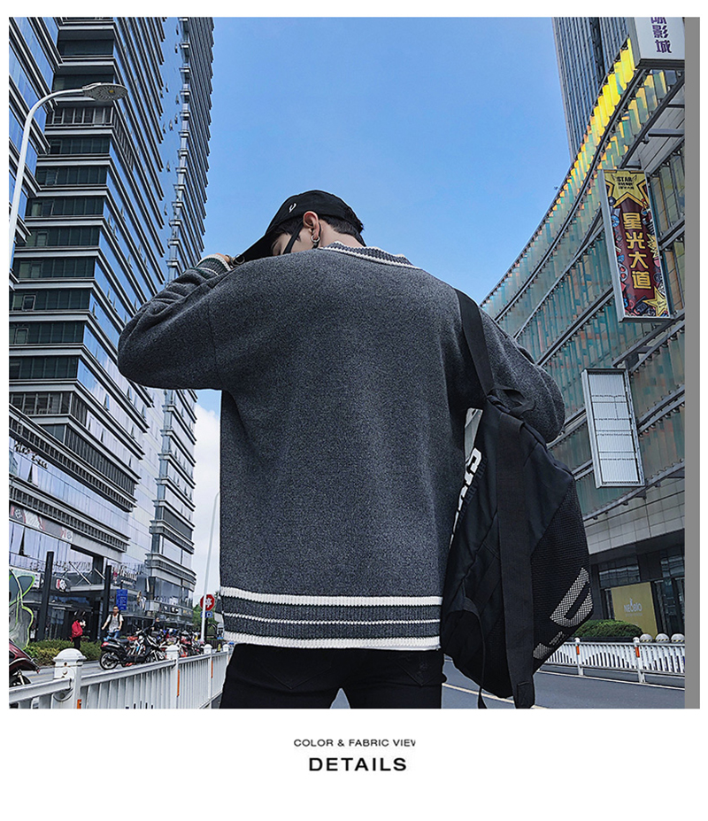 Check Button Cardigan Male Oversize Loose Streetwear (8)