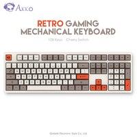 Original AKKO 3108 V2 Retro Gaming Mechanical Keyboard SA Ball Cap 108 Key Cherry Switch USB Type C Wired Computer Mouse Gamer