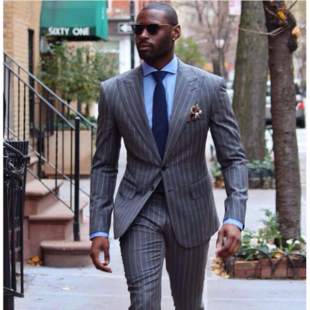 2018 High Quality Fashion Men Suit Custom Made Grey Men' Striped Suit Tailored Single Breasted Pin Stripe Business Wedding Suit