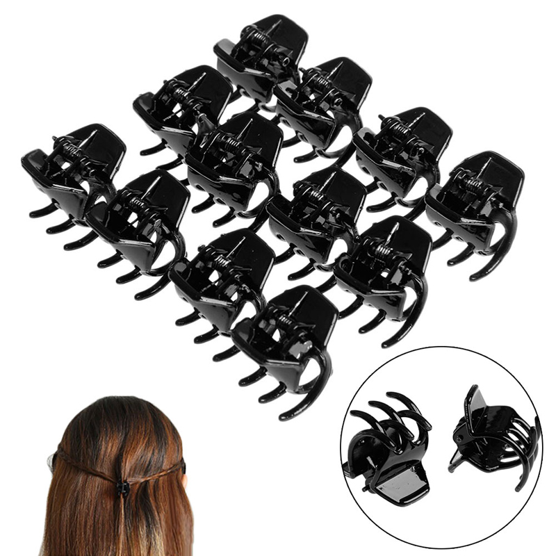 12Pcs black Girls Women mini Hair Claws Styling Plastic Clip Claw Clamp ...