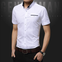 Spring Autumn Man S Business Casual Cotton Solid Color Short Sleeve Professional Teenager Slim Fit Suits
