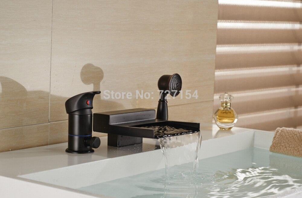 New Widespread Spout Bathtub Faucet Oil Rubbed Bronze Shower Mixer W/ Hand Unit