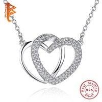 BELAWANG Luxury Brand Birthday Gift Two Hearts Necklaces & Pendants 925 Sterling Silver Jewelry for Best Friends Women Girls