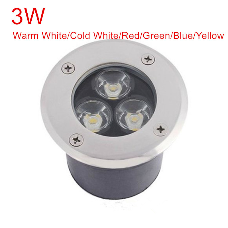 3W LED underground light lamps AC85-265V/DC12V outdoor buried recessed floor spotlight waterproof IP67 Landscape stair lighting 2pcs lot 36w led round underground lamps buried lighting step light led led outdoor lamps led floor light 12v ac85 265v ip67