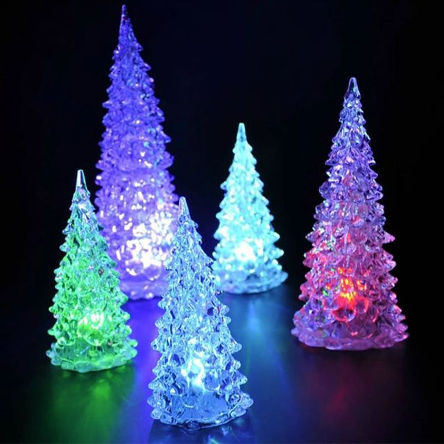 led battery operated colour changing night light desk table top christmas tree new year decoration gift - Battery Operated Christmas Trees