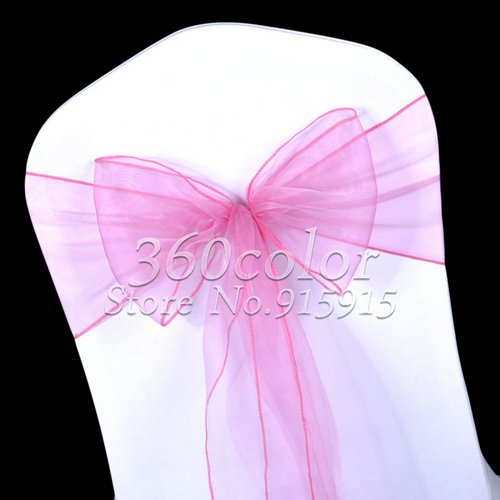 100PCS Fuchsia Sheer Organza Chair Sashes Bow Cover Wedding party Decoration
