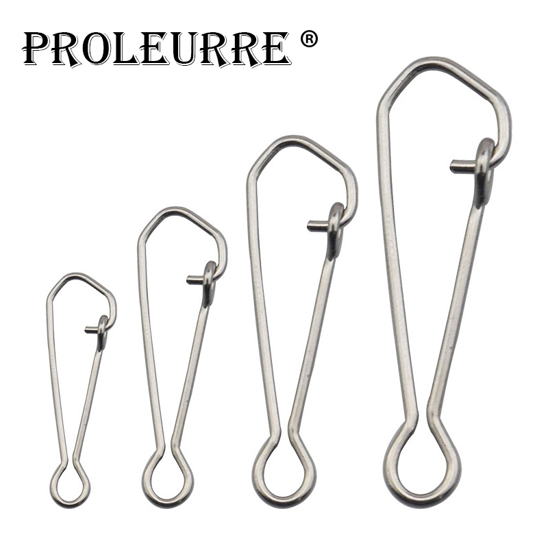 Proleurre 100pcs/bag Stainless Steel Hook Fast Clip Lock Snap Swivel Solid Rings Safety Snaps Fishing Hook Connector Accessories