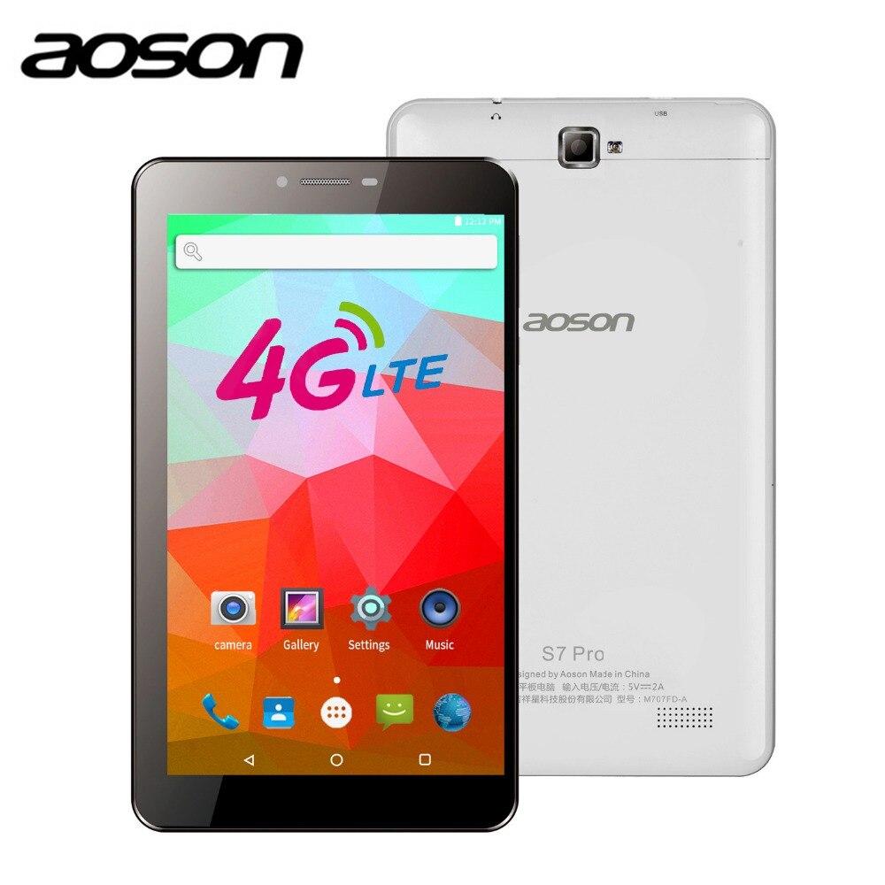 AOSON 4G unlocked SIM CARD 7 inch Android 6 0 LTE FDD Phone call Quad Core