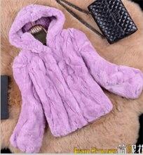 2015 new winter women's rex rabbit fur female short design outerwear long-sleeve slim with a hood