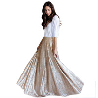 Elegant Dazzling Sequins Lace Long Skirts For Women A line Floor Length Skirt Fashion Custom Made High End Clothing