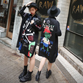 2016 BF Harajuku Style Blusas Women Hip-hop Funny Cartoon Letters Pattern Loose Long Section Of  Chiffon Shirt Female