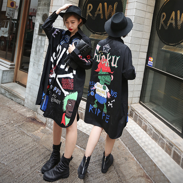 cd851d0db248 2016 BF Harajuku Style Blusas Women Hip-hop Funny Cartoon Letters Pattern  Loose Long Section
