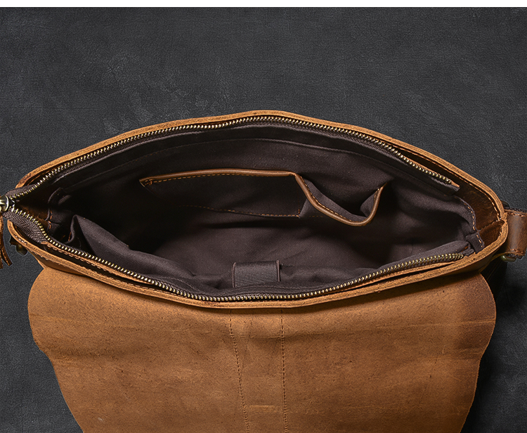 Luxury Leather Courier Bag inside compartment