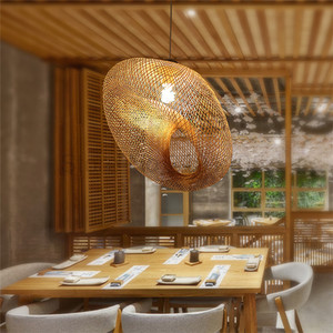 Image 4 - Creativas lámparas colgantes tejidas a mano de bambú, lámparas colgantes para restaurante con personalidad, barra de café, luces colgantes LED
