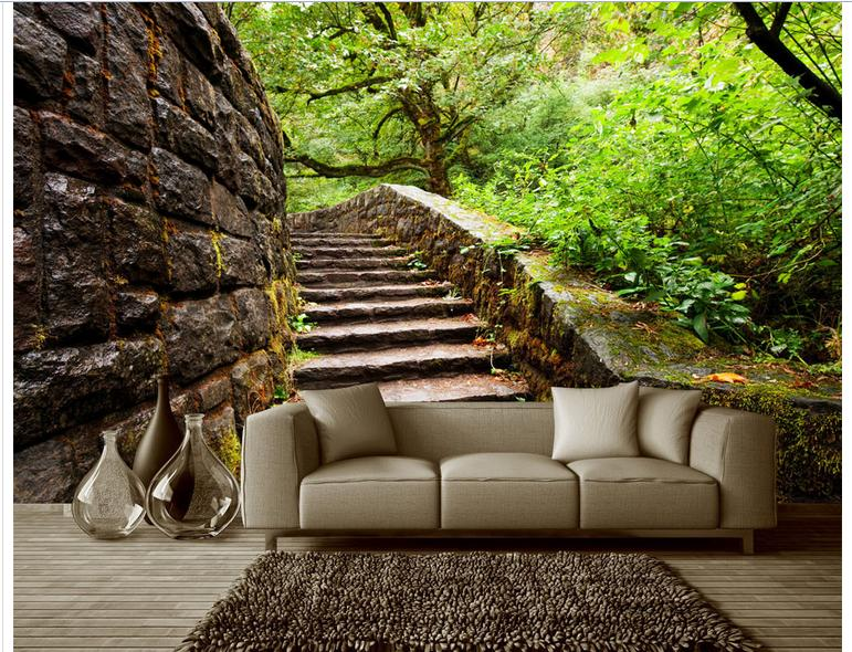 Customized 3d Photo Wallpaper Wall Murals Bench Space Setting Outdoor Garden Trees Living Room