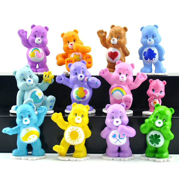 6pcs No Repeat 5-6cm Kawaii Cute Animal Care Bear PVC Action Figure Doll Can Use In Girls Play House Toy D11