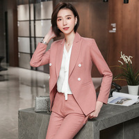 IZICFLY New Formal Office Women Suit Set With Trousers Elegant Traje Mujer Blazer Y Pantalon Pants Suits For Ladies Work Pink