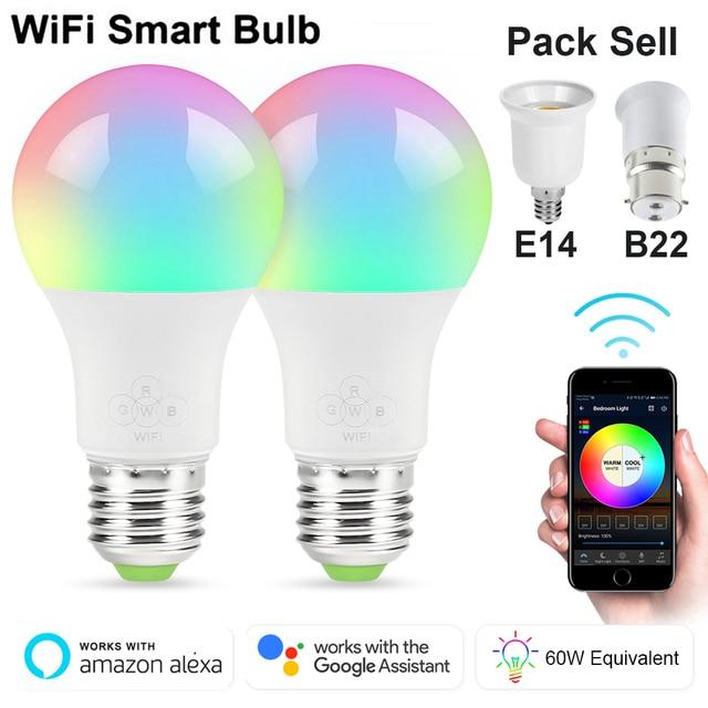 4,5 W/6,5 W/10 W RGBW Led Bombilla WIFI iluminación inteligente cambio de Color regulable AC85-265V Compatible con Alexa de Google