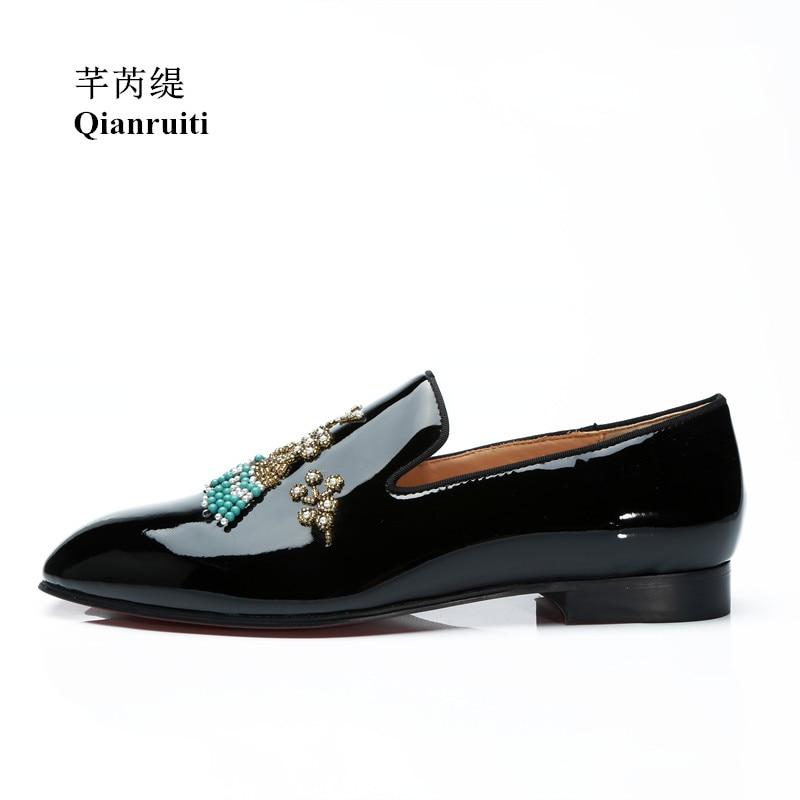 Qianruiti Men's String Beading Shoes Rhinestone Slip-on Loafers Patent Leather Shoes EU39-EU46 Customized Color Men Casual Shoes