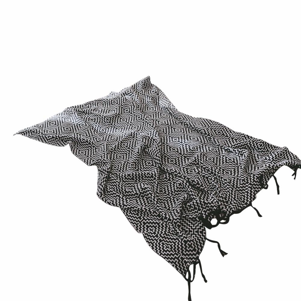 Black And White Tassel Rug: Black And White Stripes Classic Fashion Tassel Cotton 1pcs
