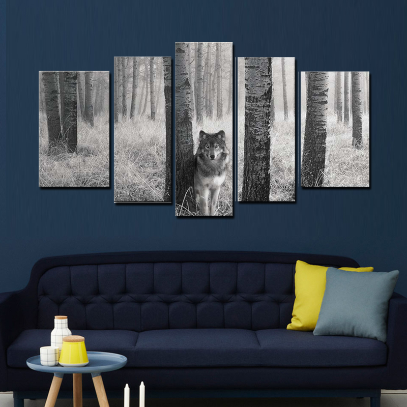 5 panel wall art painting watchful wolf eyes in the wild for Panel wall art