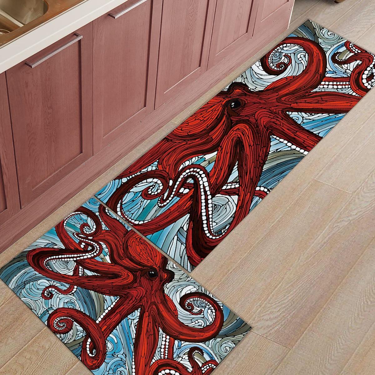 Hand painted Red Octopus Sea Dirt Debris Mud Trapper Boot Shoes Scraper Bath Shower Tub Accessory Sets Floor Carpets Area