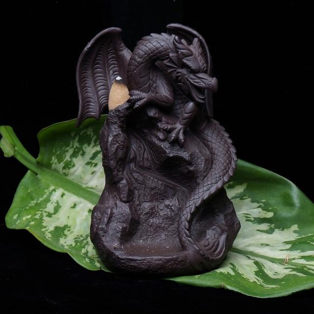 Incenso de cerâmica com fluxo reverso, queimador de incenso com dragão, pterosauro, criativo, para casa, jardim, sala de escritório, decoração, estátua de buda, presente