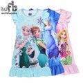 Retail 3-9 years dress shortsleeves fashion cartoon princess dress kids children spring summer autumn fall
