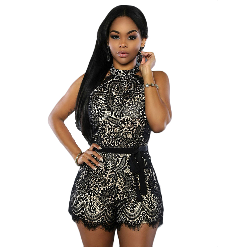 Hot Fashion Women Lady Sexy Clubwear Halter Floral Lace patchwork Playsuit Bodycon Party   Jumpsuit   Romper Trousers Leotard Tops