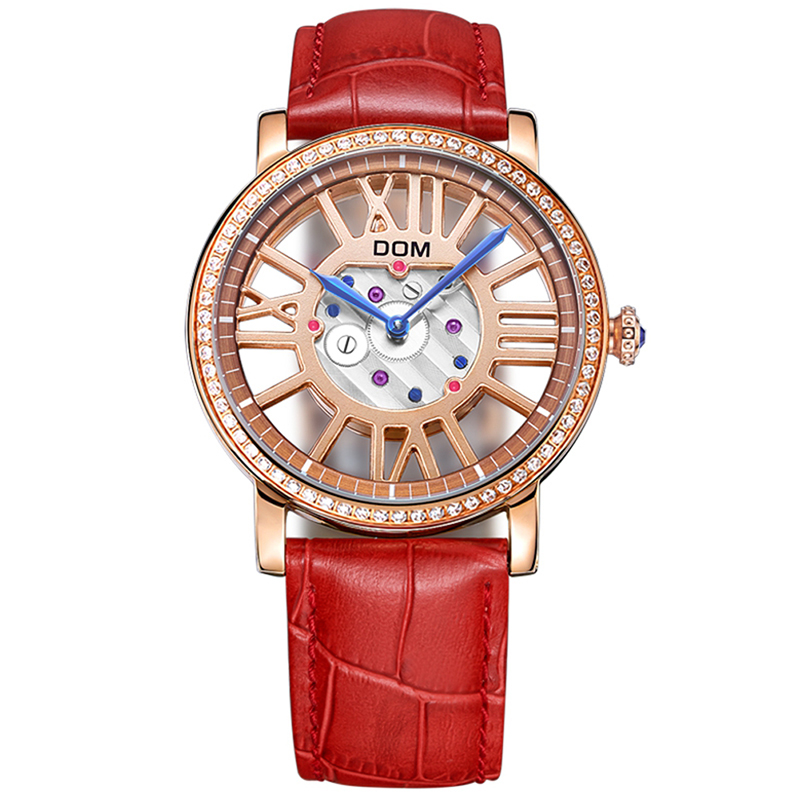 DOM Woman's Watch Fashion Luxury Ladies Hollow Quartz Wristwatch Top Brand Leather Strap Watch Women Watches Reloj
