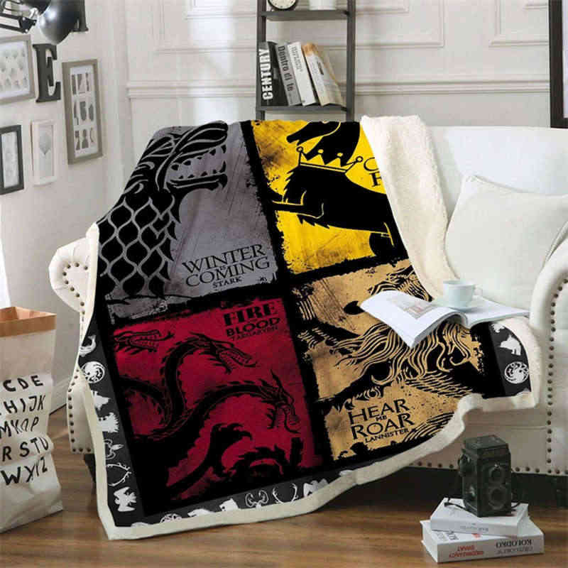 Game of Thrones Daenerys 3D Print Sherpa Blanket Sofa Couch Quilt Cover Travel Bedding Outlet Velvet Plush Throw Fleece Blanket