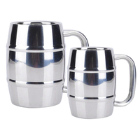 300 550ml Stainless Steel Beer Milk Cup Double Wall Drinking Milk Coffee Tea Mug For Bar