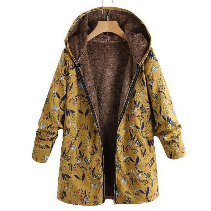 Parka Coat Women Windproof Cotton Linen Jacket Warm Jacket Coat with Hood Floral Print Pockets Plus Size S 5XL Autumn Long Coats