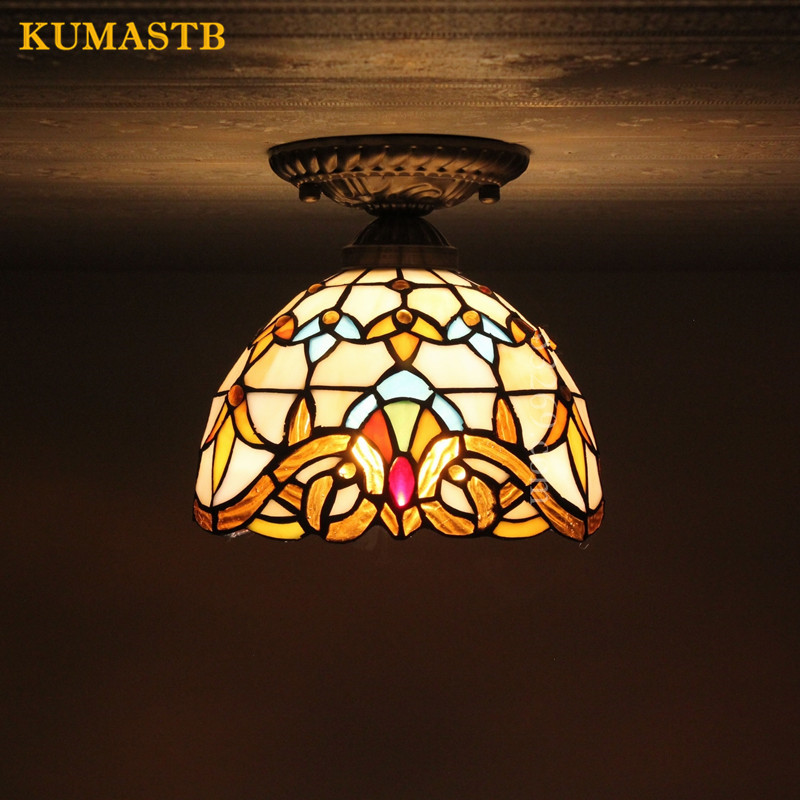 Baroque Glass Art Ceiling Lamp European Style Stained Ceiling Lights Indoor Art Glass Light Fixtures For Kitchen Balcony Dia20cm