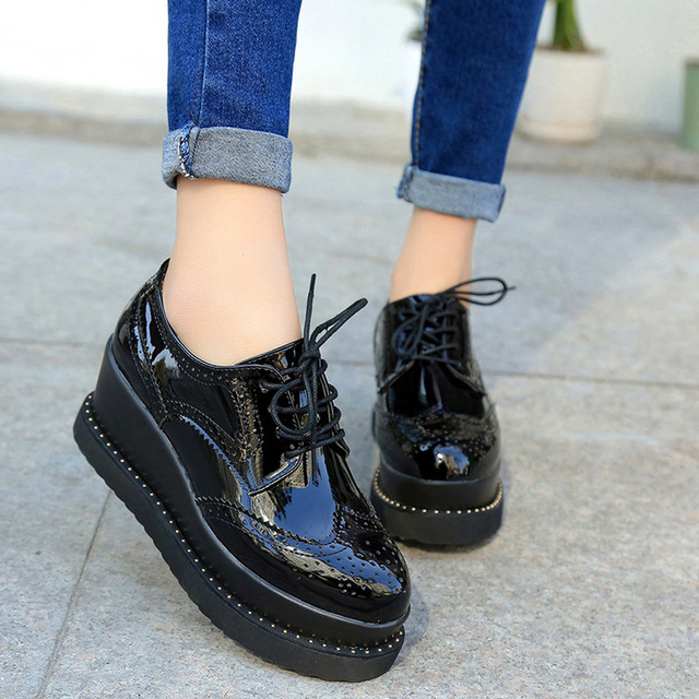 2017 Spring Oxfords Shoes For Women Platform Lace Up Creepers Women's Oxfords Shoes Ladies Flats Shoes Loafers 7cm