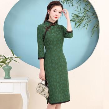1615ebb5 KYQIAO vestidos de fiesta de noche las mujeres vestido de verano mujer  elegante étnicos mandarín collar bordado Rana cheongsam chirpaur
