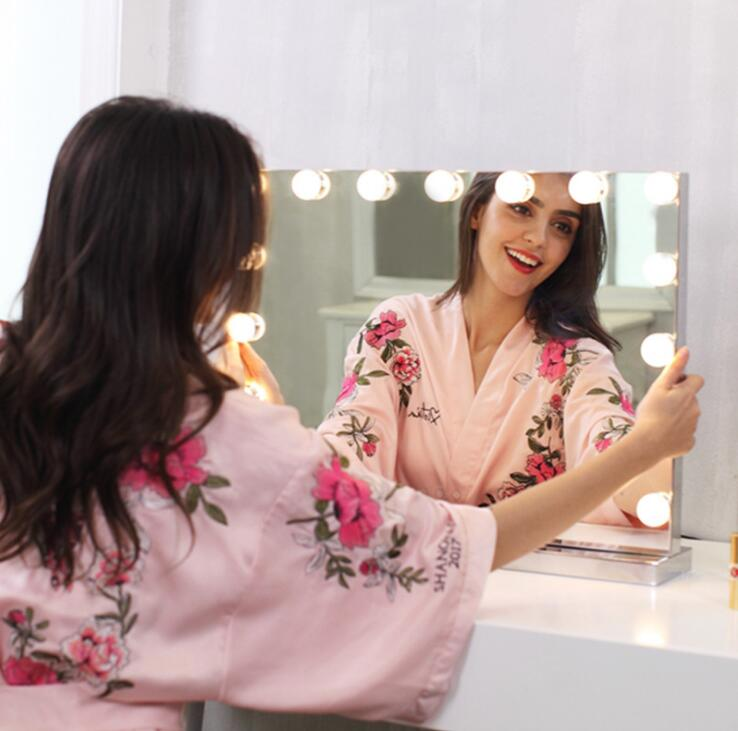 Frameless Vanity Mirror with Light Hollywood Makeup Lighted Mirror 3color Light Cosmetic Mirror Adjustable Touch Screen 58*46cm dimmable hollywood makeup vanity mirror with light large lighted tabletop cosmetic mirror with 9pcs touch control led bulbs