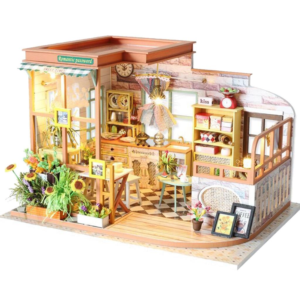 CUTEBEE Деревянный Кукольный дом игрушка мебель DIY светодиодный светильник ручной работы кукольный домик 3D миниатюрные кухонные игрушки для детей Подарки k319