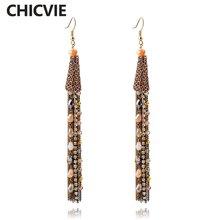 Chicvie брендовые винтажные длинные серьги с кисточками для