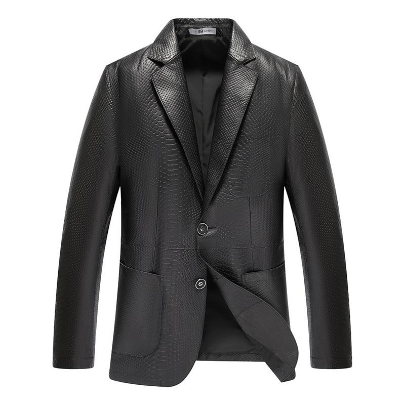 Brand New 2019 Genuine leather men jacket Sheepskin Designer spring leather coats black(China)