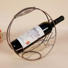 1PC Iron Platig Wine Racks Carriage Wine Holder Wine Bottles Decor Display Shelf Rack Home Kitchen Bar Accessories KI 2055 3 5 6 bottles holder optional wooden wine rack storage home kitchen bar decoration display shelf