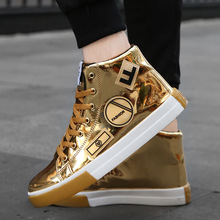 Plus Size 39-46 Mens High-top Bright Skateboarding Shoes Bling Sports Casual Sneakers Sequin Chaussure Homme