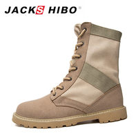 JACKSHIBO Men Military Boots Mid Calf Canvas Boots Lace Up Mens Safety Boots Casual Men Work