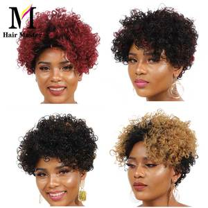 Image 4 - Short Curly Human Hair Wigs Afro Kinky Curly Human Hair Short Wigs Remy Hair Ombre Color for Black Woman