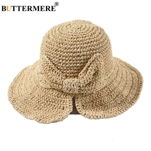 BUTTERMERE Foldable Sun Hat Women Handmade Paper Straw Summer Female Beige Breathable Fresh Bowknot Ladies Beach Hats 2019