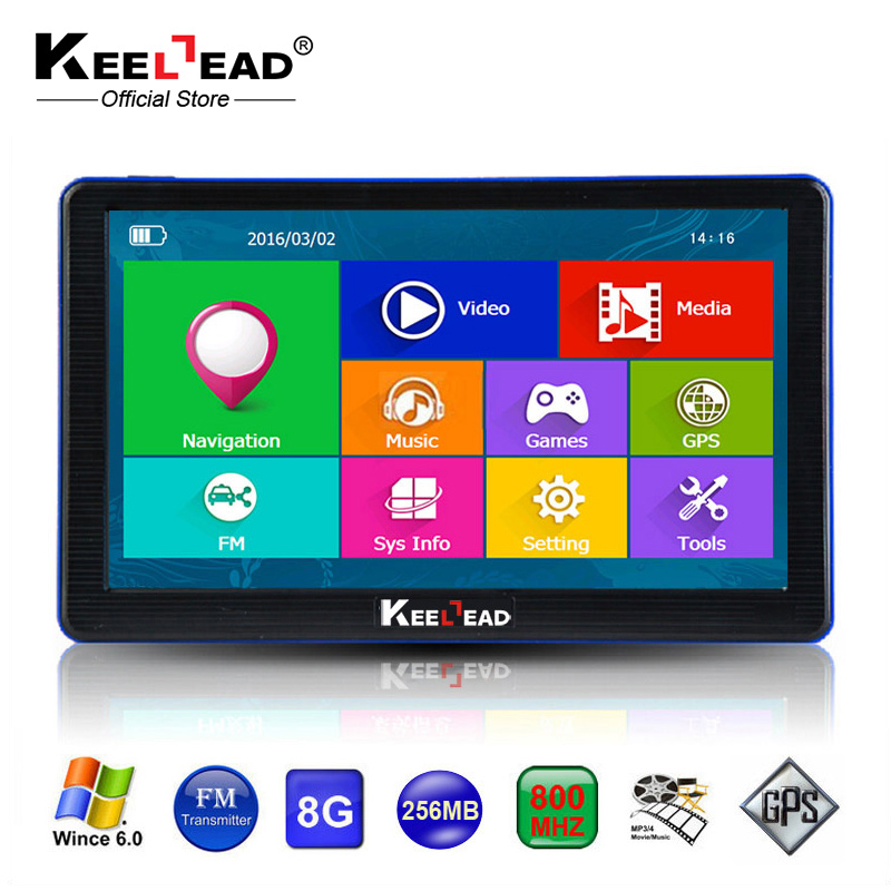 KEELEAD 7 inch Car GPS Navigation Capacitive screen Bluetooth AV In FM Built in 8GB 256M