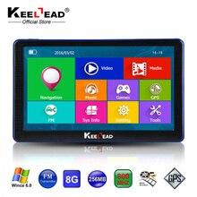 KEELEAD 7 インチ車の Gps ナビゲーション容量性スクリーンの Bluetooth AV In FM 内蔵 8 ギガバイト/256 メートルひるみ 6.0 地図ヨーロッパトラック車両gps navigation capacitive screencar gps navigationgps navigation