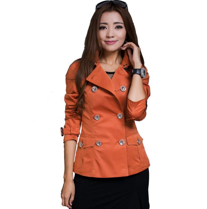 Femmes Vêtements Casaco orange Tranchée Femme Pour Courte rose Pardessus Mince Boutonnage Beige Printemps Mode Manteau Double Feminino Sobretudo 2018 w7zxOgPqq